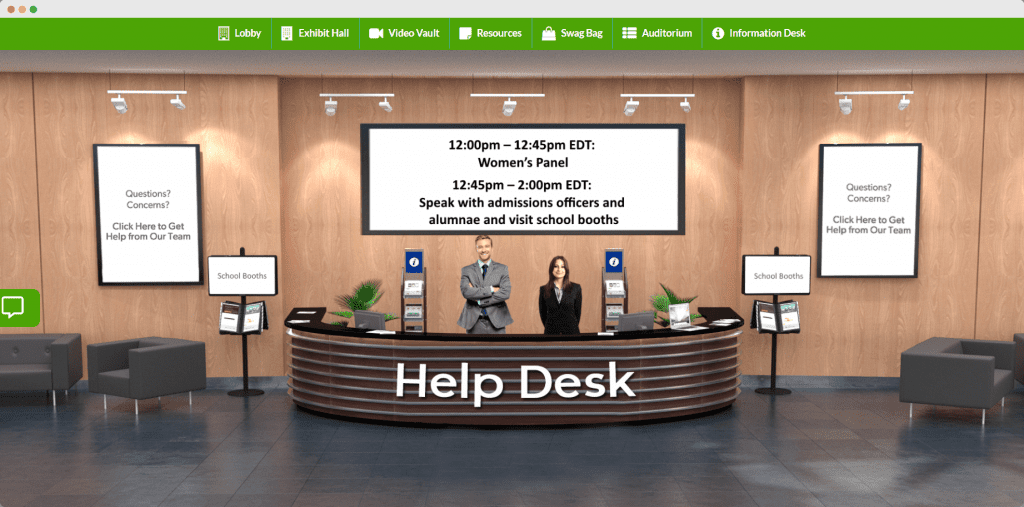 Live help desk virtual college fair
