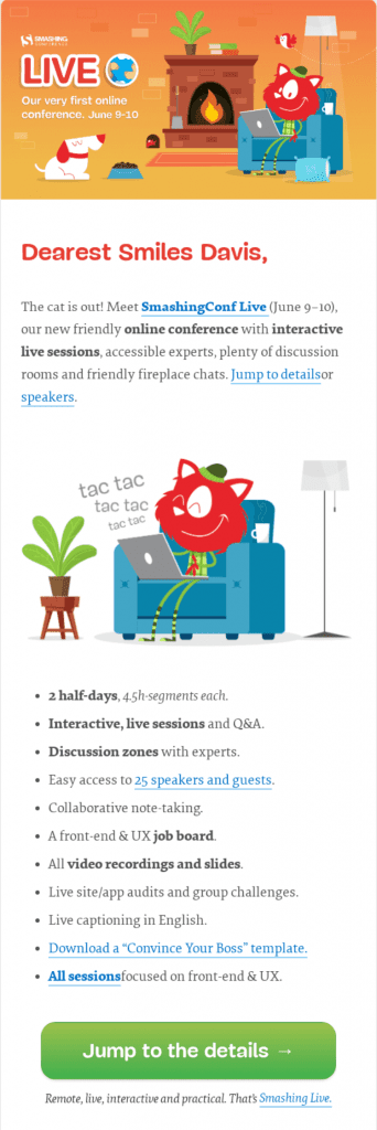 smashing conference email example