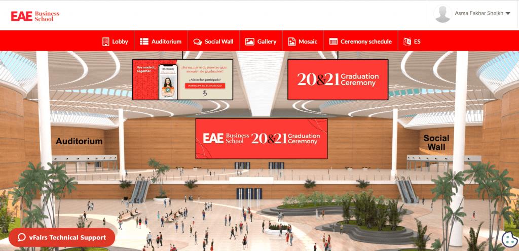 a virtual lobby at a virtual graduation fair